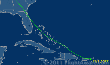 UAL flight to VI  Track