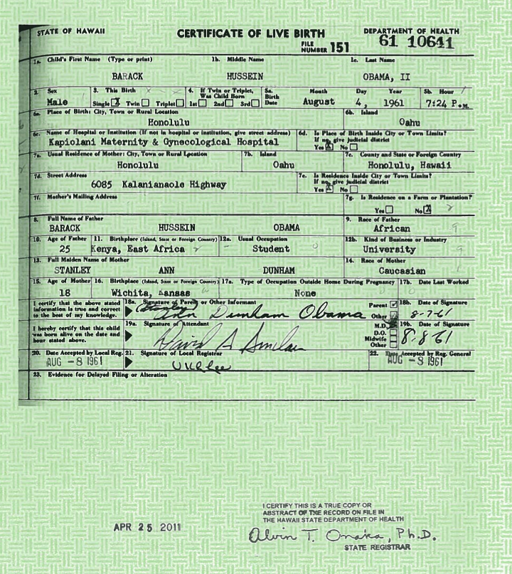BREAKING NEWS: ORIGINAL BIRTH CERTIFICATE OF PRESIDENT OBAMA ...